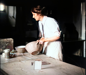 A woman baking in 1910 at Galgorm Castle
