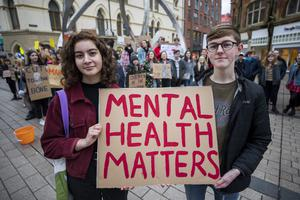 Teenagers Lamees Shaath and Euan Gepp from Newtownabbey at a demonstration in Cornmarket in Belfast city centre earlier this year to raise awareness of the mental health crisis in Northern Ireland