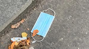 Discarded face masks on the streets of Belfast
