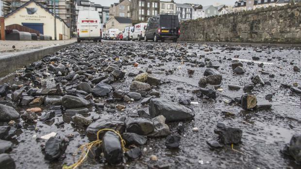Debris washed up on to the roads in Portrush