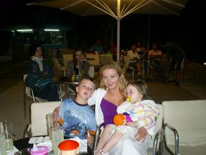 Karen on holidays with Conan and Niamh
