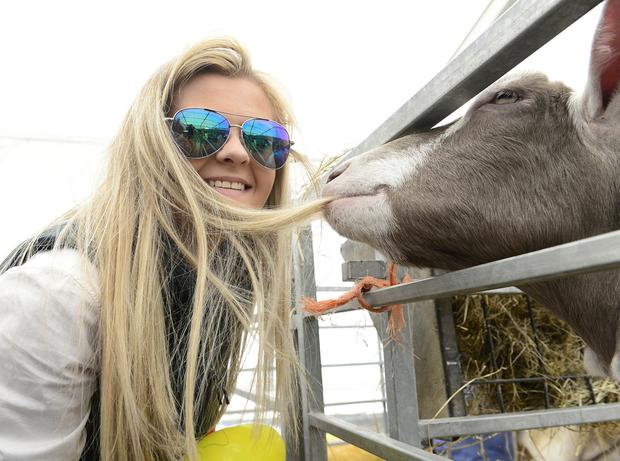 Michaela Rodgers from Carnlough with a friend at Balmoral yesterday