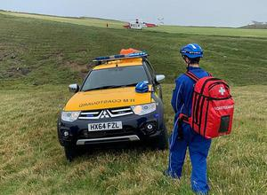 Emergency services at the scene where a young man lost his life in an accident near Dunluce Castle, Portrush, yesterday