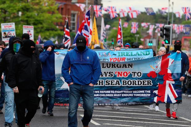 Loyalists take part in a rally against the Northern Ireland Protocol in Portadown.  Brian Lawless / PA Wire