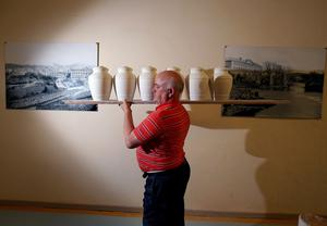 Peter McMahon making the urns at Belleek Pottery