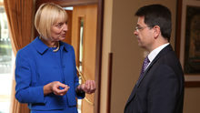 Judith Thompson, Commissioner for Victims and Survivors, speaks to Secretary of State James Brokenshire in Templepatrick yesterday