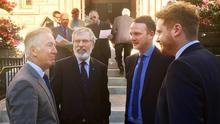 Richard Neal with Gerry Adams and Fiachra and Emmett McGuinness, sons of the late Martin McGuinness