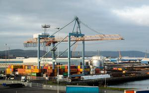 Standstill: Shipping containers at Belfast port
