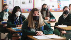 Pupils from Bloomfield Collegiate in Belfast wearing face coverings.