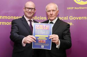 Ukip deputy leader Paul Nuttall and NI leader David McNarry launch the party's manifesto at the Park Avenue Hotel