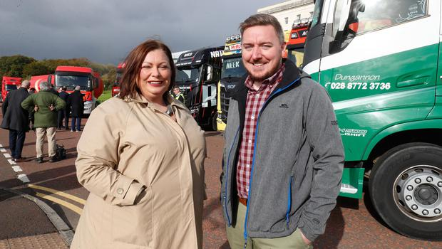 Long road: Sinead O'Regan and Chris Tubridy, Employability of Skills officers for Belfast City Council at Stormont for National Lorry Week. Credit: Colm O'Reilly