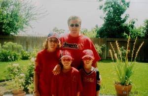 PJ (left) with dad Pat and brothers Gavin and Noah