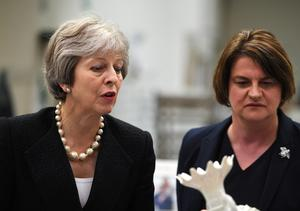 Prime Minister Theresa May and Arlene Foster, leader of the DUP (Clodagh Kilcoyne/PA)