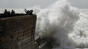 Picture of Brighton beach in stormy weather