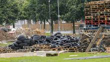 A large number of tyres on the site of the Cregagh Estate bonfire