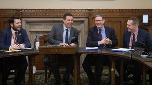 Shadow Brexit secretary Sir Keir Starmer (second right) meets (from left) Labour Party adviser Ruaidhri O'Donnell, Glyn Roberts of Retail NI and Geoff Nuttall of the NI Council for Voluntary Action at the House of Commons (PA)