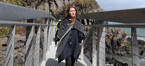 Sam Willis, visitor experience consultant, makes her way across one of the bridges on the new Gobbins cliff path yesterday