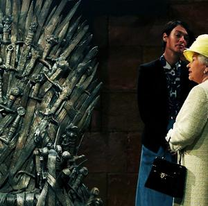 The Queen during a visit to the set of hit TV show Game of Thrones, during her visit to Northern Ireland
