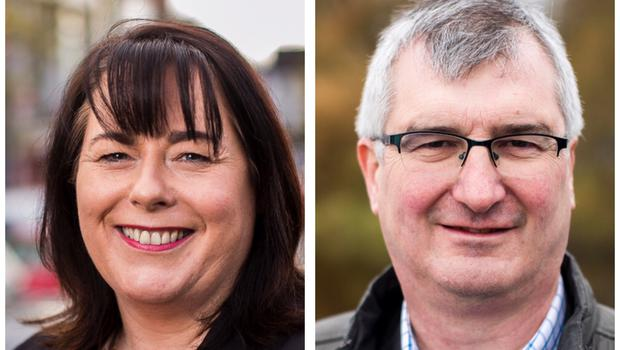 Sinn Fein's Michelle Gildernew and Ulster Unionist Tom Elliott are vying for the Fermanagh and South Tyrone seat (PA)