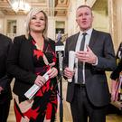 Finance Minister Conor Murphy (second from right) of Sinn Fein with Deputy First Minister Michelle O'Neill (second from left) and party colleagues Junior Minister Declan Kearney and Communities Minister Deirdre Hargey at Stormont Buildings (Liam McBurney/PA)