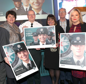 Sinn Fein's Michelle O'Neill and Gerry Kelly with Arlene Foster, PSNI Chief Constable Simon Byrne and Anne Connolly, chair of the NI Policing Board, at the launch of the PSNI recruitment drive earlier this year