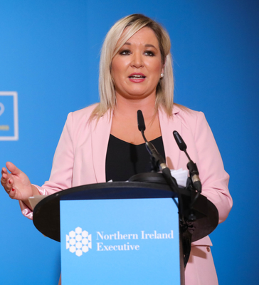 Deputy First Minister Michelle O'Neill at a Covid briefing at Stormont this week