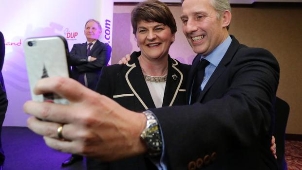Arlene Foster shares a selfie with North Antrim MP Ian Paisley