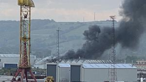 A fire at the Bombardier Aerospace plant in Belfast (Joel Neill/PA)