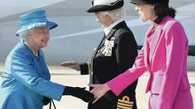 The Queen meets Secretary of State Theresa Villiers at airport