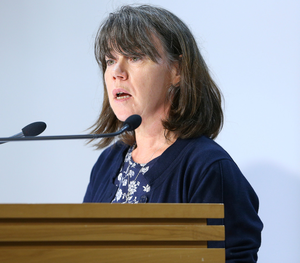 Dr Caroline McElnay, the director of public health in New Zealand, speaks to the media in Wellington