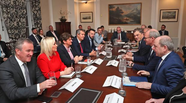 A roundtable meeting at Stormont in Belfast (Liam McBurney/PA)