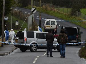 The scene on Coalisland's Mountjoy Road where father-of-three Steven Thomas Conlan was found dead on Saturday