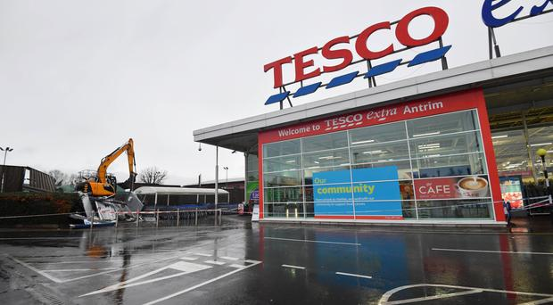 The Tesco in Antrim where money was stolen from an ATM on December 6