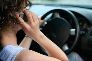 Big risk: a driver using mobile phone