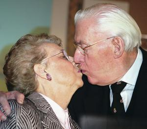 Family ties: Ian Paisley kisses his wife Eileen whom he proposed to on their third date when she was just 17