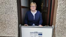 Margaret Morrison with specialist flood defence barriers at her home on the Toome Road in Ballymena