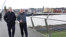 Brandon Lewis in Londonderry with tour guide Colum Lynch