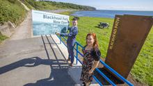 The Mayor of Mid and East Antrim, Peter Johnston, with Chief Executive Anne Donaghy at the reopening of Blackhead path at Whitehead