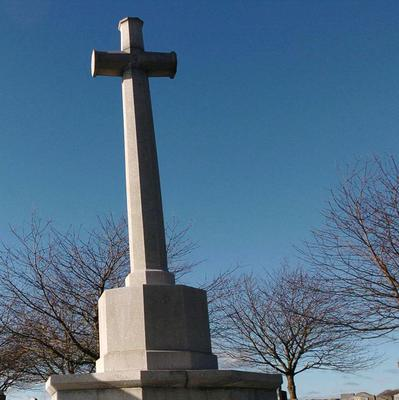 The cross of sacrifice in the cemetery was daubed with graffiti