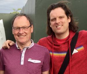 Neil Hamilton with his son, Mark, bass player with Ash