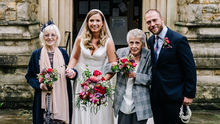 Nuptials: Megan and Tom with the their bridesmaids Mary Kennedy (90) and Gillian Holloway (80). Picture: Kristian Leven Photography