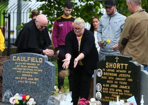 The family of Joleen Corr at her graveside yesterday