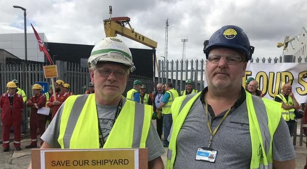Paul Beattie and Joe Passmore have called on the Government to nationalise the historic shipyard in Belfast (Rebecca Black/PA)