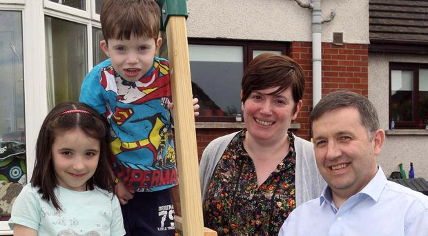 UUP leader Robin Swann with wife Jenny, daughter Freya and son Evan