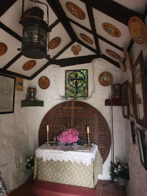 The interior and exterior of the little church in Portbradden