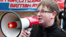 Willie Frazer making his voice heard at a loyalist civil rights parade in Londonderry