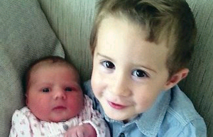 Big brother: Thomas and Mollie -children of Gillian and David Irwin from Lisburn