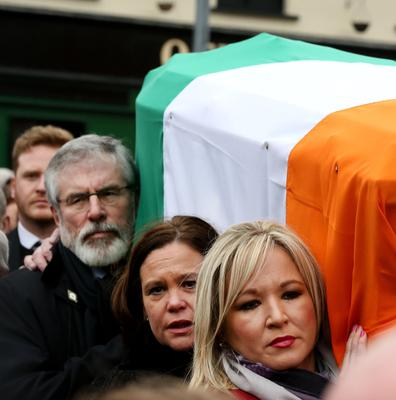 Carrying the coffin of McGuinness last year