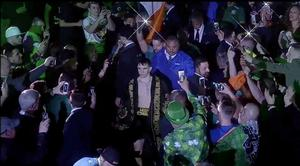 Michael Conlan makes his way to the ring at Madison Square Garden on St Patrick's Day