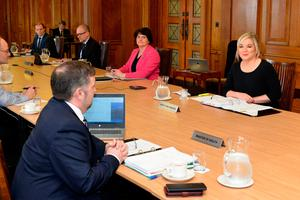 First Minister Arlene Foster, Deputy First Minister Michelle O'Neill and Health Minister Robin Swann during the Executive meeting to discuss how to significantly increase the wearing of face coverings inside shops in Northern Ireland
